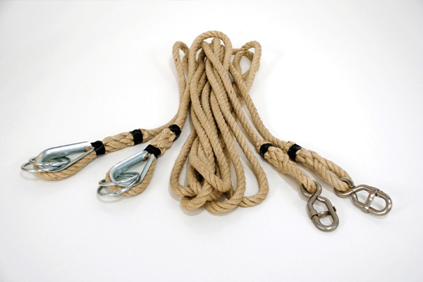 Pair of hemp ropes suitable for rings -