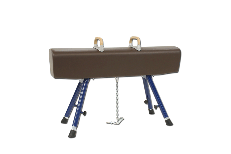 Pommel horse, covered with natural leather -