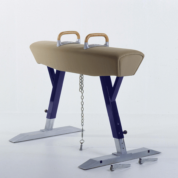 Olympic pommel horse, covered with suede like leather -