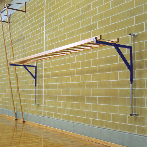Wall mounted wooden horizontal ladder on steel frame -