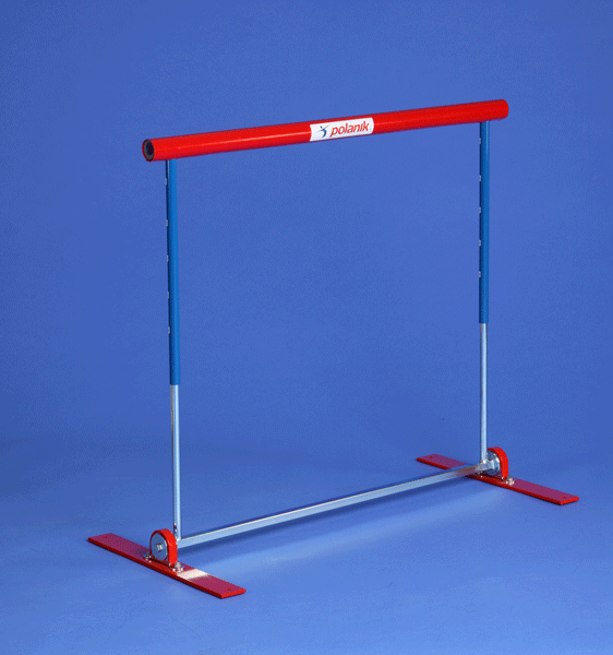 Steel practice hurdle, safety pendular model with tension spring -