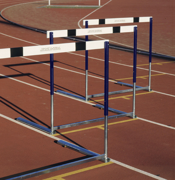 Olympic competition hurdle made of steel, counterweighted base -