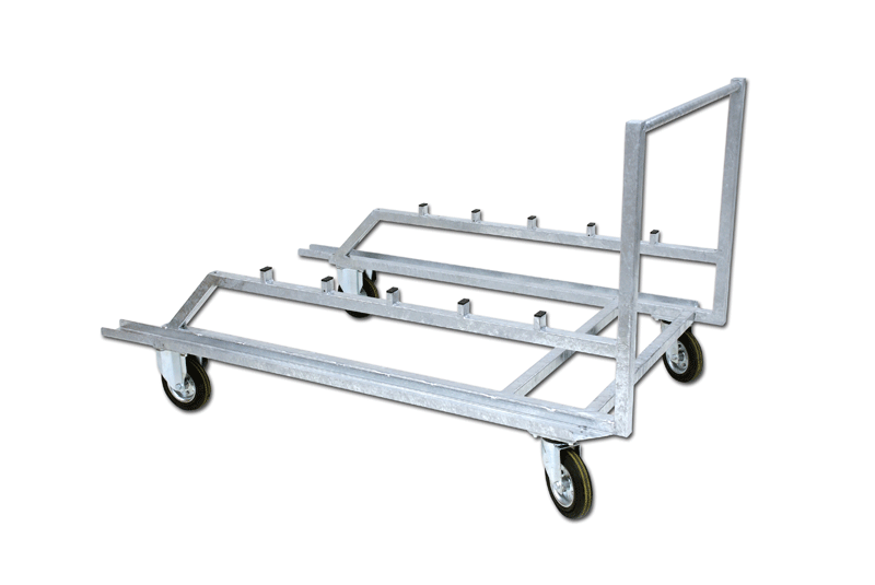 Galvanized steel trolley for steeplechase hurdles, mobile on wheels -