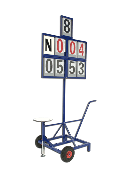 Mobile field event scoreboard 8 figures, with seat -
