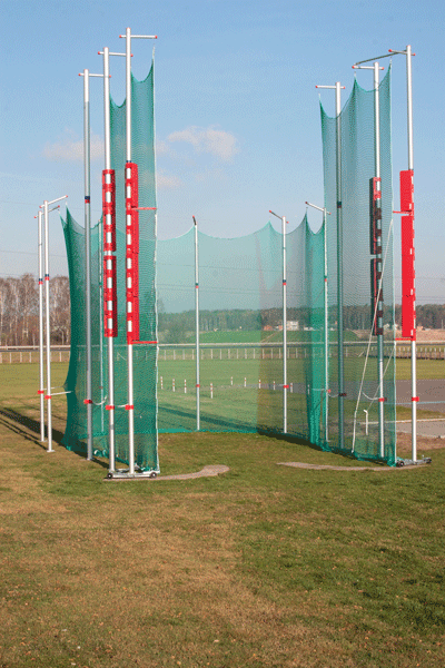 Protective cage for discus (and hammer) throwing made of aluminium -