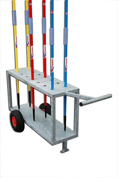 Galvanized steel trolley for javelins, mobile on wheels -