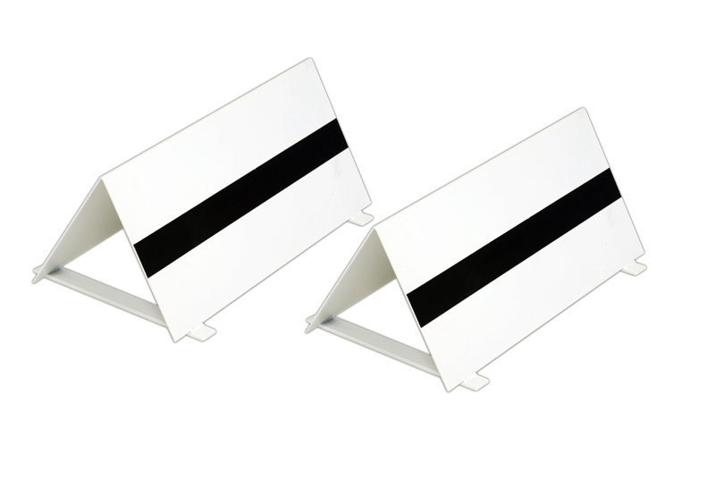 Pair of varnished steel take-off markers -