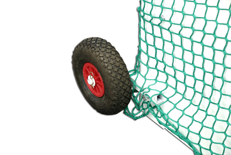 Pair of rubber wheels for field hockey goals -