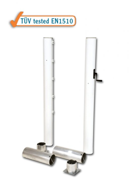 Pair of tennis posts with ground sockets