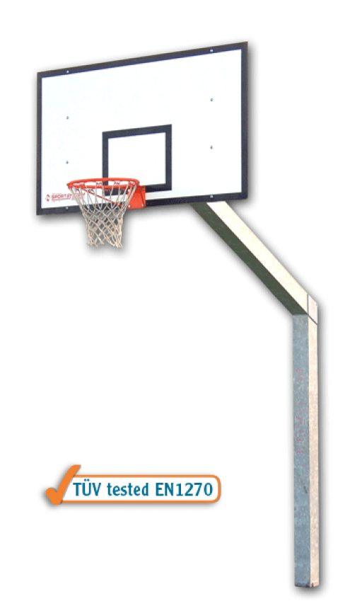 Monotubular streetball backstop with socket