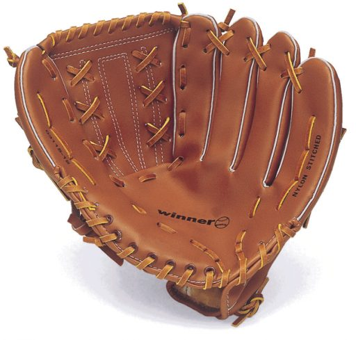 Synthetic leather baseball glove.