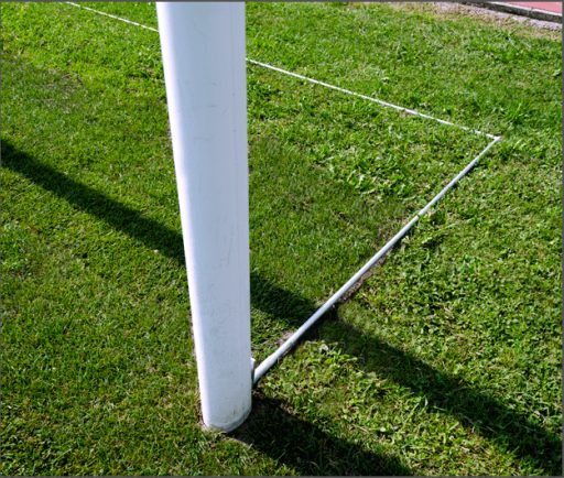 Pair of foldable ground frames to be installed to standard soccer goals