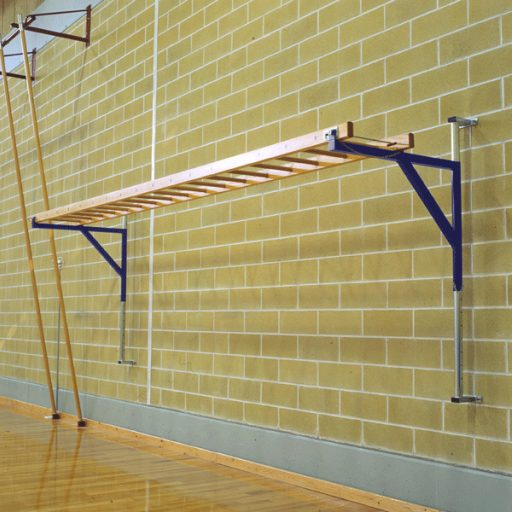 Wall mounted wooden horizontal ladder on steel frame