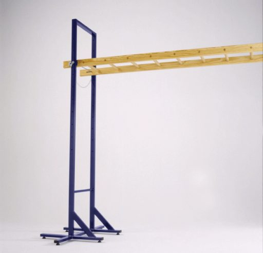 Transportable wooden horizontal ladder on steel supports