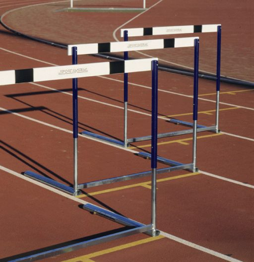 Olympic competition hurdle made of steel, counterweighted base