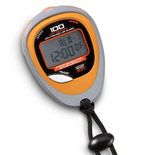 Digital stopwatch, precision 1/100 seconds, 100 memories