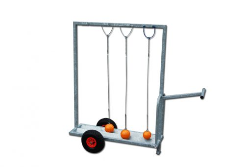 Galvanized steel trolley for hammers, mobile on wheels