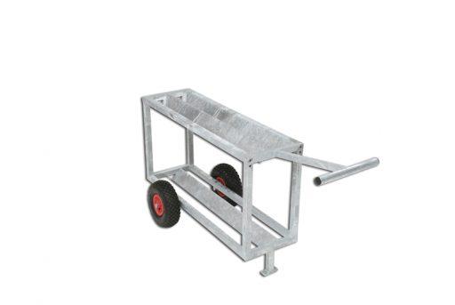 Galvanized steel trolley for shot balls, mobile on wheels