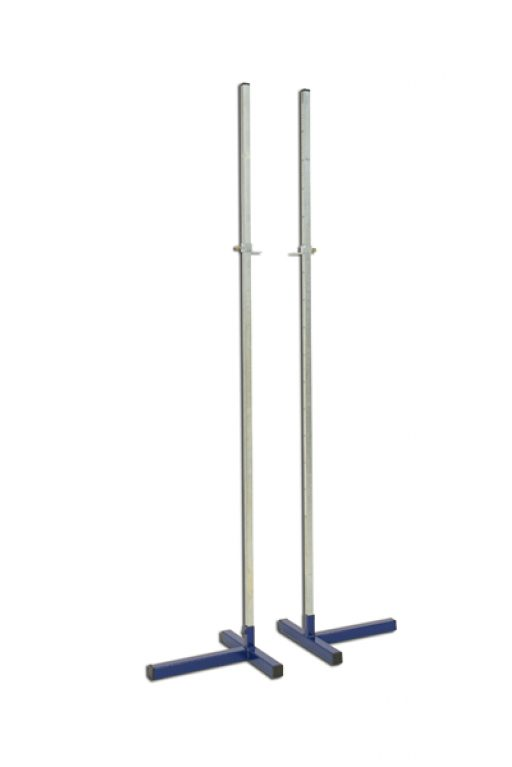 Pair of practice high jump stands, height adjustable up to 200 cm