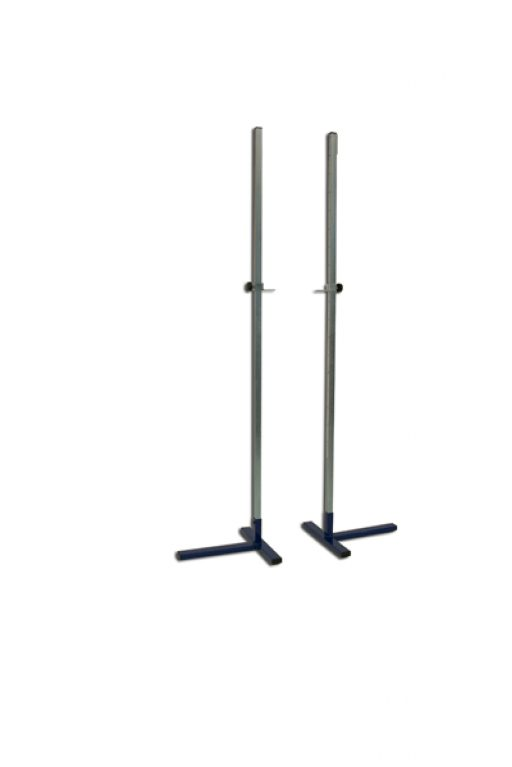 Pair of practice high jump stands, height adjustable up to 230 cm