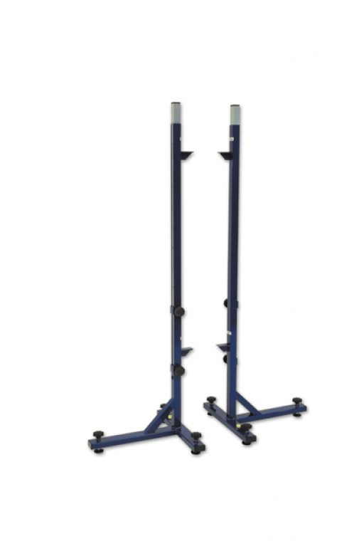 Pair of high jump stands, height telescopically adjustable up to 250 cm