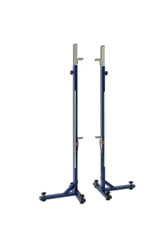 Pair of professional high jump stands, height telescopically adjustable up to 260 cm