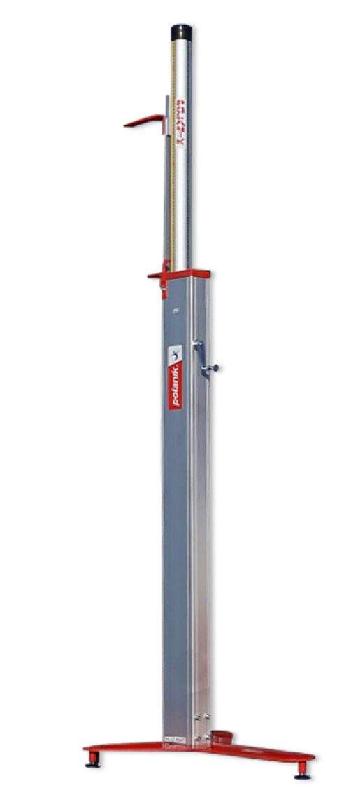 Pair of professional high jump stands, height telescopically adjustable up to 265 cm