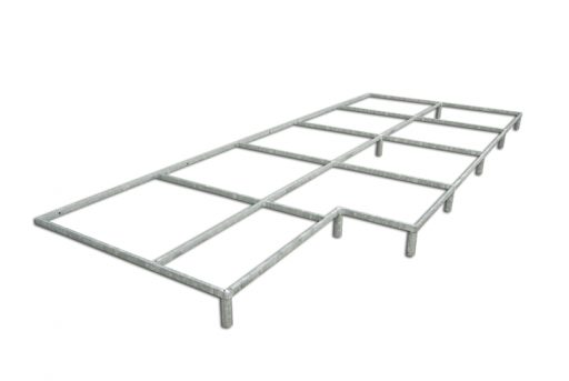 Galvanized steel support platform for raising the pole vault landing area