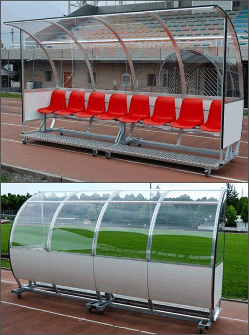 Portable team shelter, cover construction made of aluminium