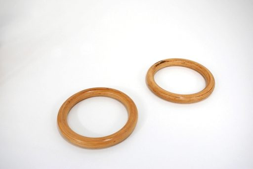 Pair of varnished laminated wood rings